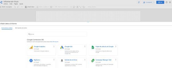 configurar informe inicial data studio