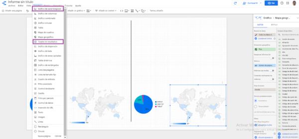 tarjeta de resultados y lineas temporales data studio